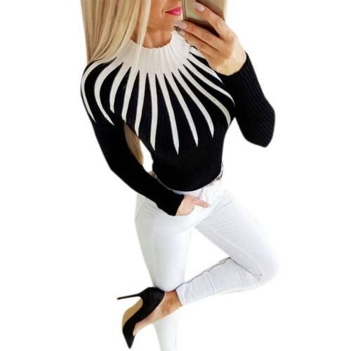 Damen Strickpullover Pulli Langarm Slimfit Sweater Jumper Tops Casual Sweatshirt