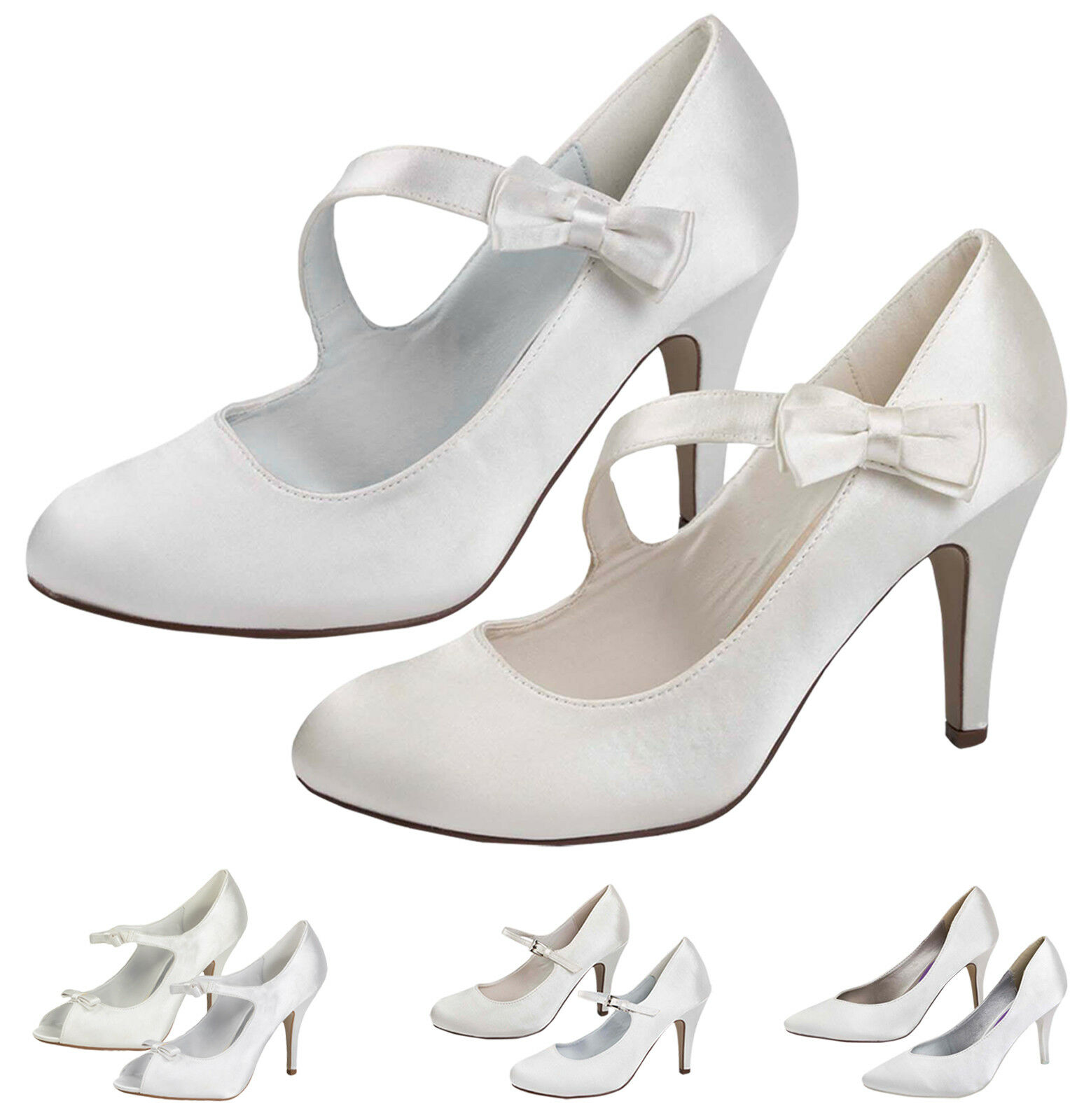 Womens Wedding Shoes Satin Bridal High Heels Classic Court Party Pumps Ladies