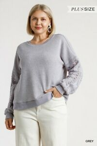 Umgee-Grey-Crochet-Detail-Long-Raglan-Sleeve-Knit-Top-Plus-Size-XL-1X-2X