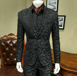 Black-Camouflage-Men-039-s-Slim-3-Pieces-Suits-Formal-Party-Tuxedos-Tailored-Fit