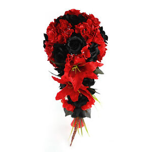 Details About Cascade Bouquet Black And Red Artificial Wedding Flowers Rose Hydrangea Lily