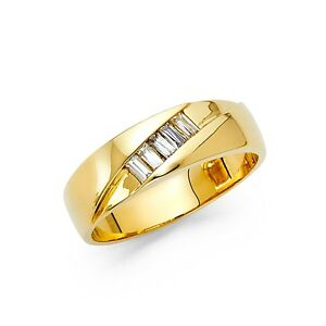 Mens Engagement Ring Solid 14k Yellow Gold Wedding Band Plain