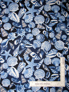 Sea-Shells-Toss-Blue-Cotton-Fabric-Timeless-Treasures-Beach-C6657-By-The-Yard
