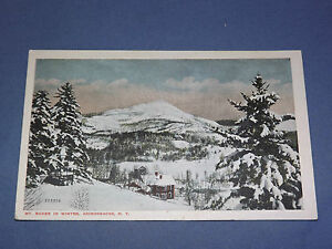 VINTAGE MT BAKER IN WINTER ADIRONDACKS NEW YORK   POSTCARD