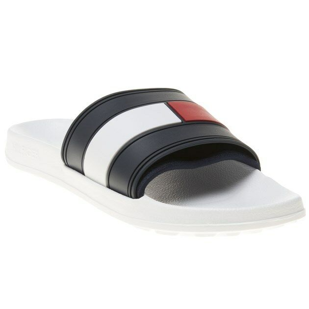 e28e25f031911e Tommy Hilfiger Flag Pool Mens White Navy Red Synthetic Slide - 39-40 for  sale online