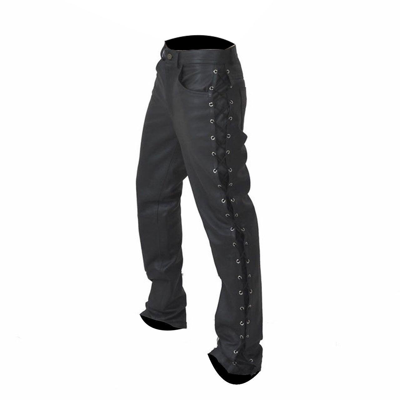 Uomo Biker Pantaloni Vero Nero pelle Sexy Lato Pizzo Jeans