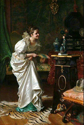 Oil painting noble young woman with her favourite doll male statue no framed art