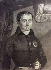 Joseph Bonaparte estampe 1853 gravure sur acier Empire Napoléon Franxe