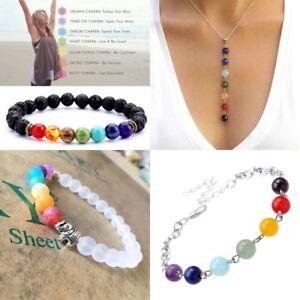 7 Chakra Healing Balance Beaded Bracelet Lava Yoga Reiki Prayer Stone Unisex HU