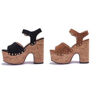 NEW-Womens-Ladies-Vegan-Wedge-Block-High-Heel-Ankle-Strap-Peep-Toe-Sandals-Size