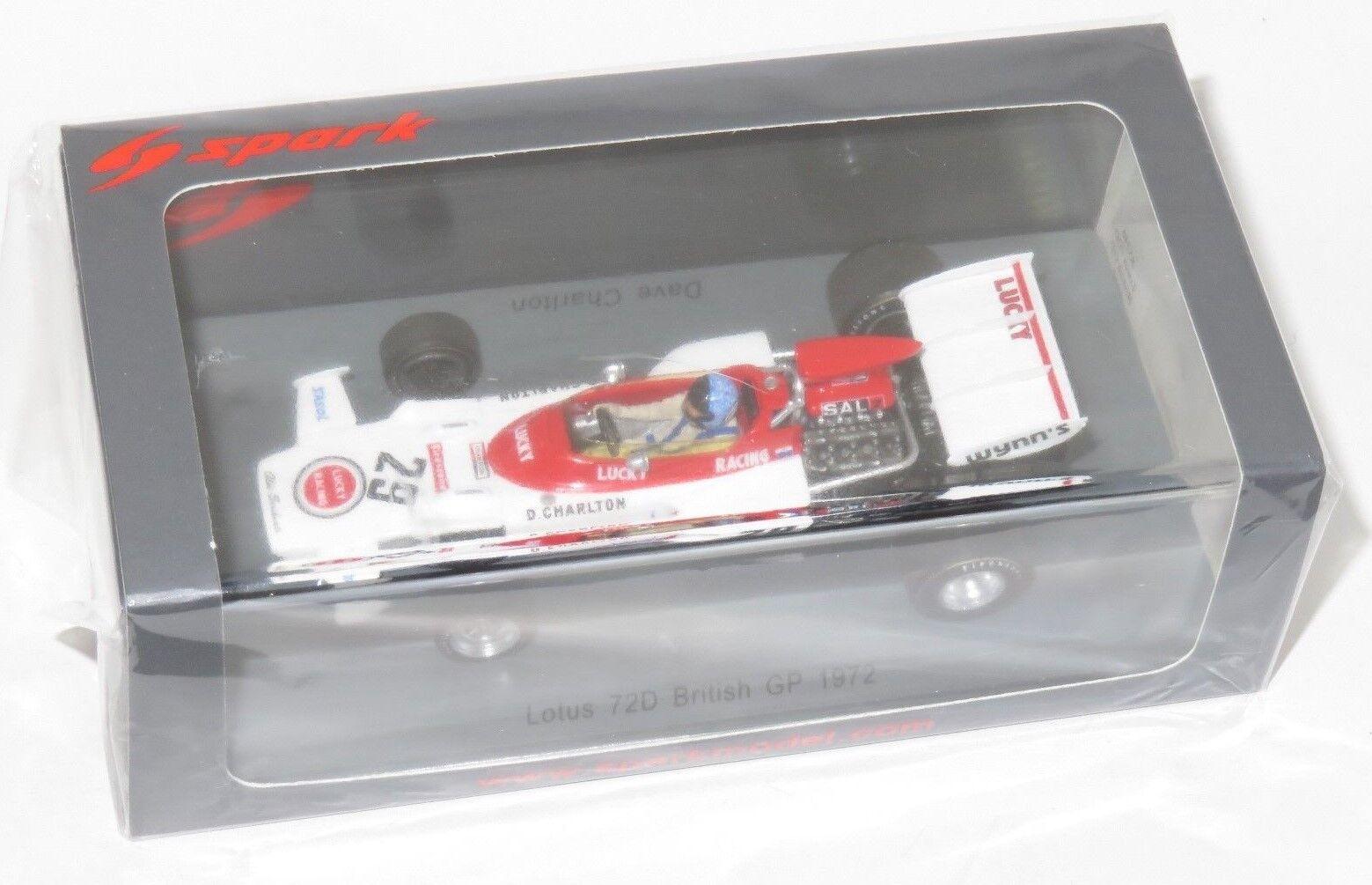 SPARK MODEL LOTUS 72D British GP 1972  29 Dave CHARLTON