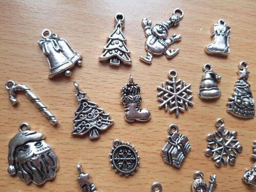 MIXED CHRISTMAS CHARMS PENDANTS TIBETAN SILVER JEWELLERY MAKING CRAFTS