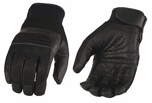 Men-s-Leather-amp-Mesh-Racing-Gloves-with-Gel-Palm-Reflective-Piping-Wrist-Strap