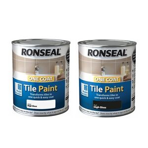 Enjoyable Details Zu Ronseal One Coat Tile Paint Gloss 750Ml Kitchen Bathroom Tile Paint Black White Interior Design Ideas Gresisoteloinfo