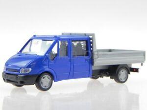 Ford-Transit-2005-DoKa-PickUp-blue-modelcar-Rietze-1-87