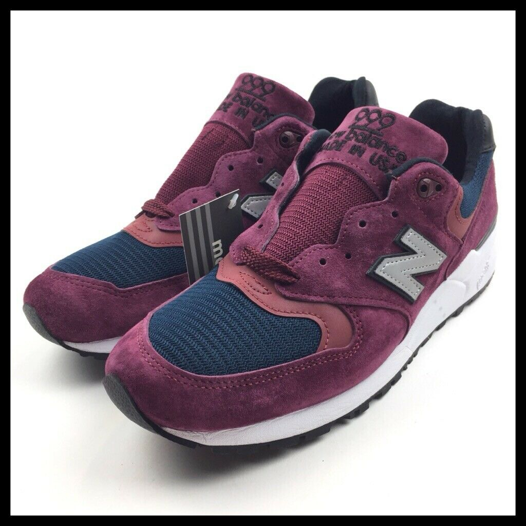 New Balance 999 Made In USA Mens Running Size 9.5 Maroon Navy Suede M999JTA New