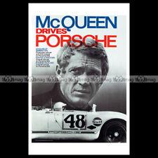 #phpb.000662 Photo STEVE MCQUEEN DRIVES PORSCHE 1970 A4 Poster Reprint