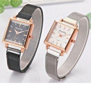 Square Dial Watch Fashion Ladies Women Mesh Band Analog Quartz Wrist Watch
