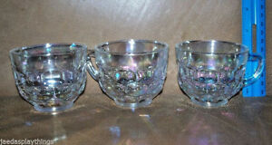 Federal-Punch-Cups-Thumbprint-Set-of-THREE-Clear-Carnival-Glass-Iridescent