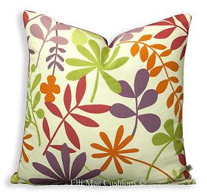 Jane-Churchill-Calder-Lujo-Disenador-Lino-Rojo-Purpura-Cubierta-Cojin-Almohada-De-Hoja