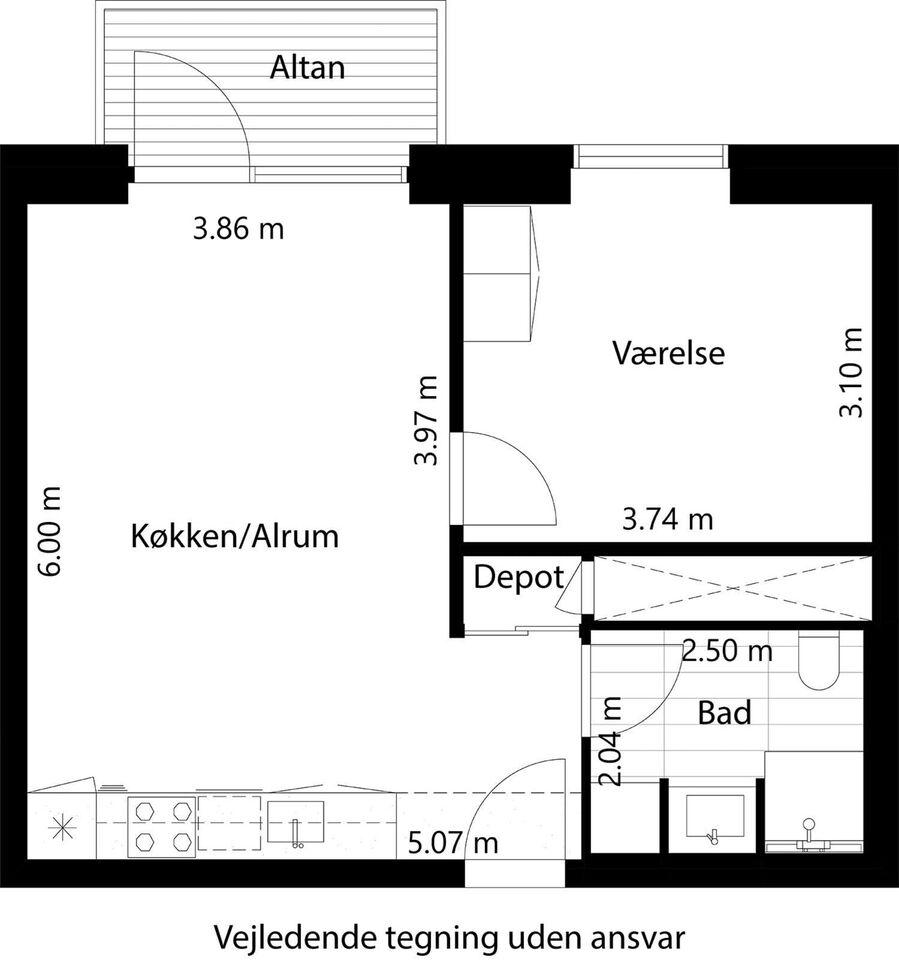 4100 vær. 2 lejlighed, m2 59, Rønnedevej
