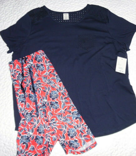 Croft /& Barrow Women/'s Short Pant Pajama Set Cotton Blend 2X Red Blue Flower NWT