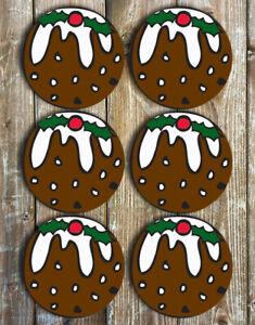 Christmas-Pudding-Coasters-Neoprene-Drink-Coasters-Set-of-6-Christmas-Decor