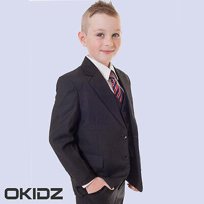 High Quality 5PCS Boys Black Finely Stripe Formal Wedding Christening Suits00-17