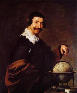 Details About Art Oil Painting Diego Velazquez Male Portrait Democritus With Globe Canvas