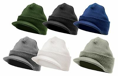 Winter Deluxe Jeep Hat Hats w/ Brim Visor Acrylic Beanie Watch Cap Covers Ears