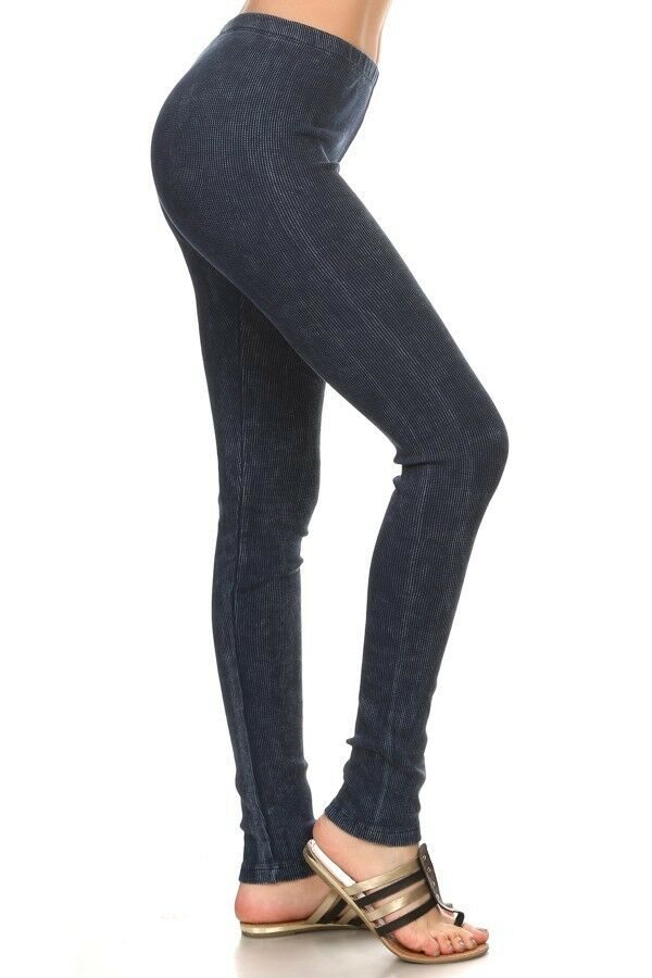 NWT Chatoyant Mineral Washed Thermal DENIM blueE Leggings Great Quality SMALL