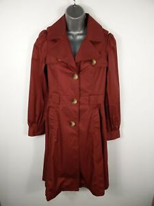 WOMENS-ATMOSPHERE-DUSKY-RED-BUTTON-UP-SINGLE-BREASTED-TRENCH-OVERCOAT-UK-SIZE-10