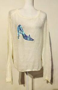 Disney-Cinderella-XL-Lauren-Conrad-Princess-Knit-Sweater-Sequin-Glass-Slipper