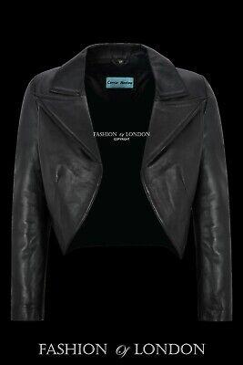 Women Ladies Real Leather Cropped Jacket Shrug Open Blazer Bolero Slim-fit 5650
