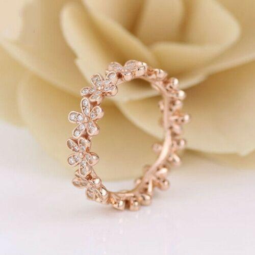 925 Plata Oro Rosa Banda brillante deslumbrante Daisy Apilable Anillo Europeo