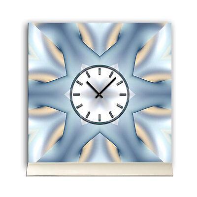 Tischuhr 30cmx30cm Inkl. Alu-ständer -abstraktes Design Stern Eisblau Geräuschl