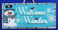 Snowman Welcome Winter Sign Wall Hanger Door Plaque Seasonal Holiday Seasonal