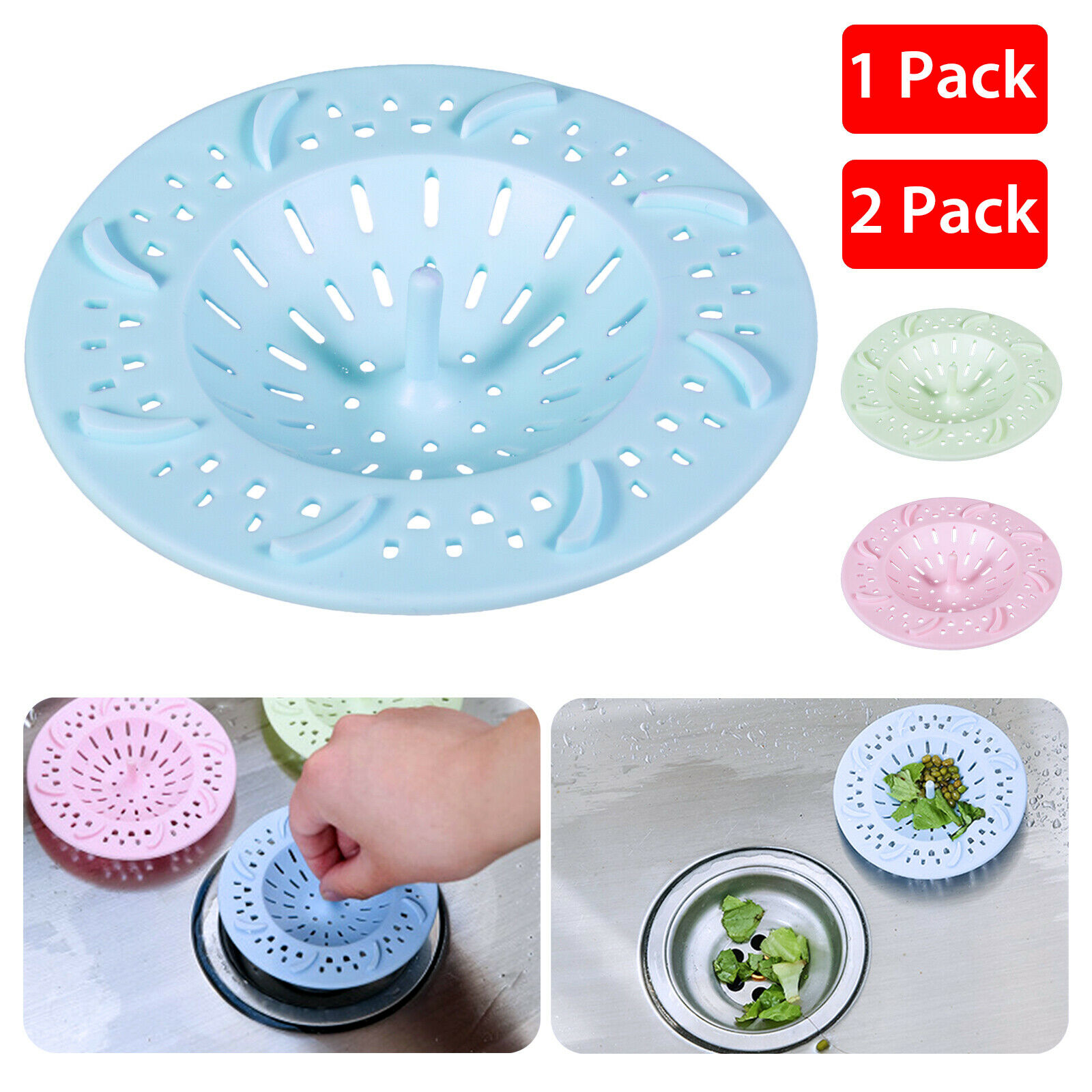 Sink Filter Strainer Kitchen Plastic Drain Round Sewer Catcher Cover Stopper SA