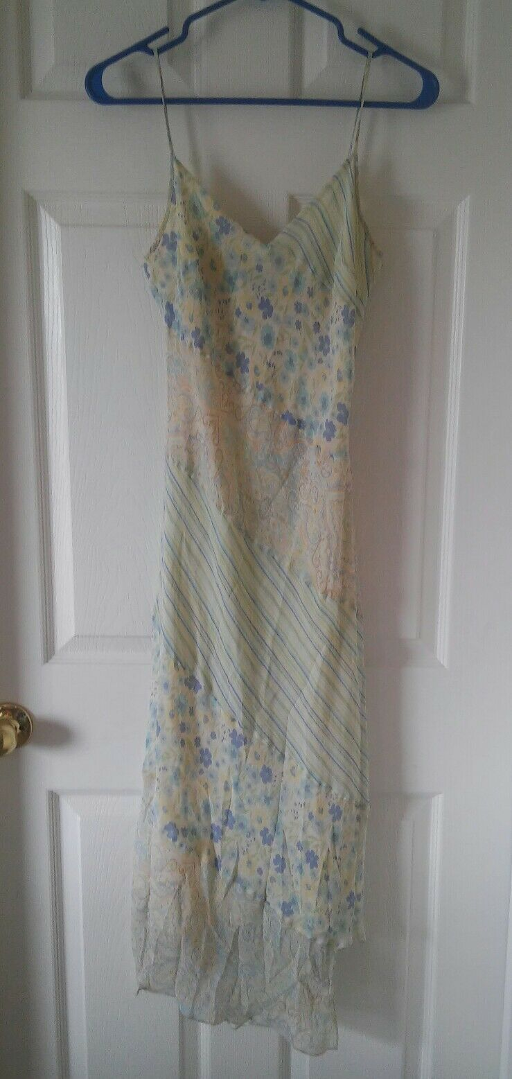 Silk Yellow and bluee Floral, Paisley, and Striped Asymmetrical Dress Size 9 10