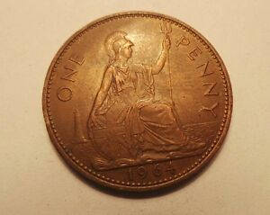 Rare-Old-Collectible-Bronze-Britain-England-1-Penny-Date-1964-Queen-Elizabeth-II