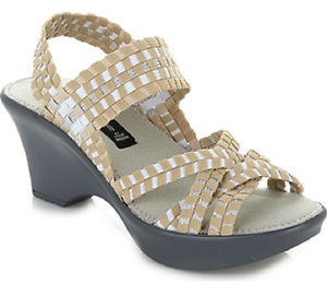 Image is loading Steve-Madden-Torrist-Woven-Wedge-Sandal-Tan-Multi-