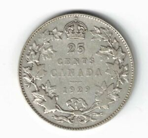 CANADA-1929-TWENTY-FIVE-CENTS-QUARTER-KING-GEORGE-V-800-SILVER-CANADIAN-COIN