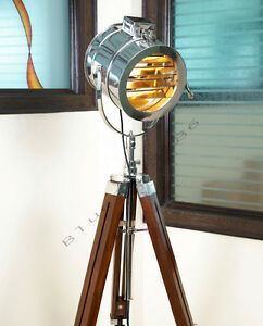 Vintage Nautical Floor Lamp Marine Spot Studio Tripod
