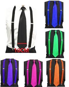 Mens-Ties-skinny-tie-and-suspenders-set-men-039-s-clip-on-back-longer-necktie-prom