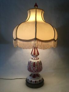 Vintage-Bohemian-Czech-Milk-Cut-to-Cranberry-Glass-Table-Lamp-32-034-Tall