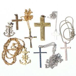 Lot-of-7-Antique-Vintage-Religious-Cross-Crucifix-Pendants