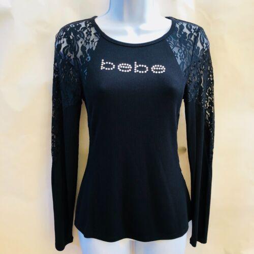 Top Bebe Plus 3x Nwt Logo Sleeve Lace 1x Size Long Rhinestone Black qfCIwFS