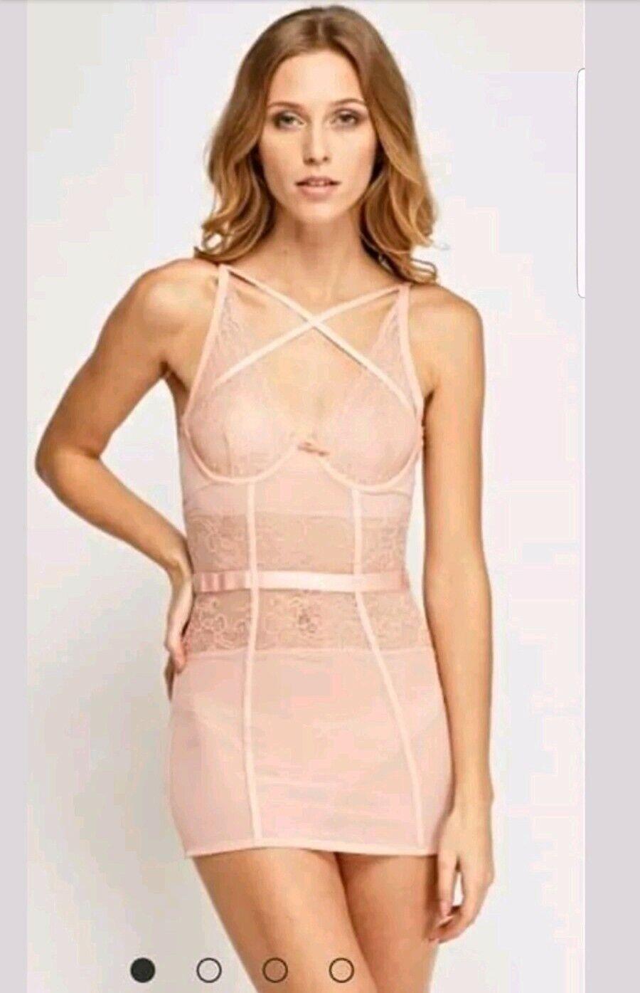 Ann Summers nude peach shape control bodysuit suspenders straps size 10 12 NWT