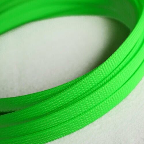 Fluorescent green Expandable Braided mesh PET Cable Sleeving Audio Sleeve 30mm