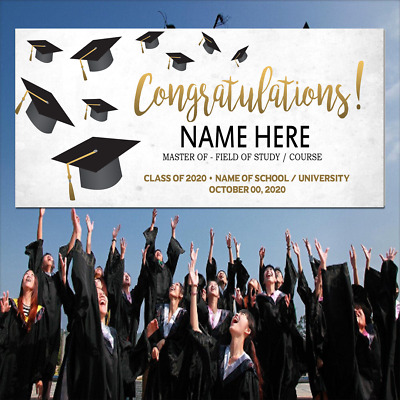 College High School Graduation Decorations Personalized Graduation Banner Graduate Name Banner Any School Colors